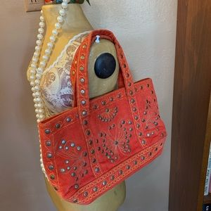 Orange Stud Corduroy Satchel